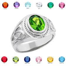 birthstone rings for sterling silver celtic men s birthstone ring all 12 months usa