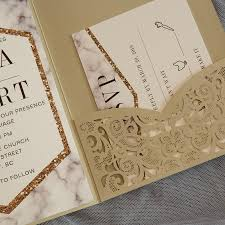 great gatsby wedding invitations modern chgne gold laser cut pocket wedding invitation suite