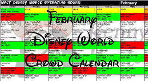 february 2018 disney world crowd calendar with park hours and