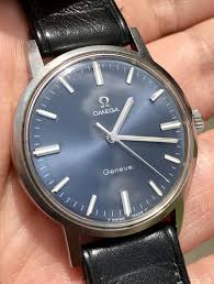 sold 575 omega geneve 135 070 stainless with blue soleil dial