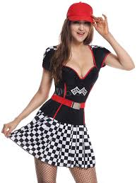 Halloween Costume Race Car Driver Race Car Driver Costume Women U0027s Black Plaid Short Dress