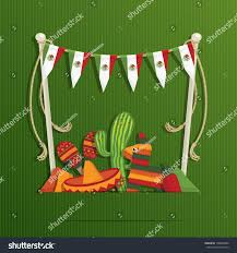 Mexican Party Flags Mexican Party Decoration Flag Bunting Objects Stock Vector