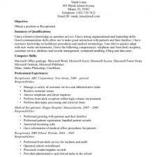 Receptionist Profile Resume Secretary Job Description Resume Sample Medical Opening For Ofice