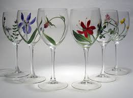 vermont botanicals design painted wine glasses