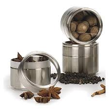 stainless steel storage canister in spice containers