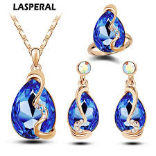crystal bridal necklace sets images Luxury austrian crystals bridal jewelry sets gold color blue red jpg