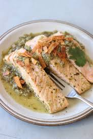 recipe salmon poached in green salsa and topped with baked chips