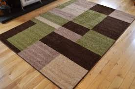 Large Rugs Uk Only New Modern Retro Brown Green Beige Cream Square Design Small