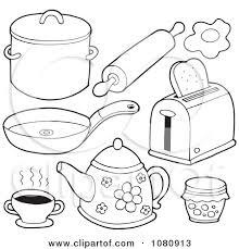 coloring pages of kitchen things clipart outlined kitchen items royalty free vector illustration by