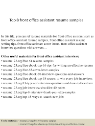 Best Resume Sample For Admin Assistant by Top8frontofficeassistantresumesamples 150331220655 Conversion Gate01 Thumbnail 4 Jpg Cb U003d1427839630
