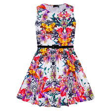 girls skater dress kids tropical print summer party dresses age 7