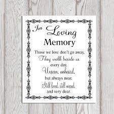 in loving memory items in loving memory printable memorial table wedding memorial