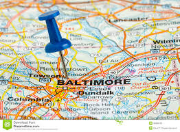 Baltimore City Map Pushpin In Baltimore Maryland Usa Map Stock Photography Image