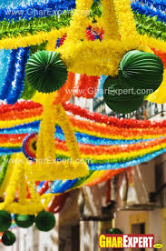ganesh chaturthi decoration with colorful frills and balloons