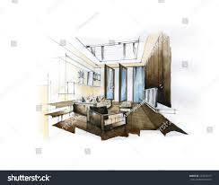 interior sketch design living room watercolor stock illustration