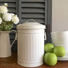 white retro metal kitchen scraps bin plastic bucket liner compost