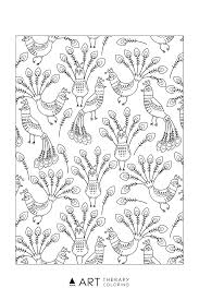 free peacock pattern coloring page for adults art therapy coloring