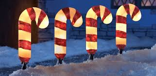 Outdoor Lighted Christmas Lawn Decorations by Amazon Com Set Of 4 Lighted Candy Cane Garden Pathway Lights Yard
