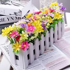 Plastic Flowers Branch Polyester Plastic Daisies Tabletop Flower Artificial