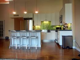 Laminating Flooring White Island With Home Kitchen Cabinet With Brown Wooden