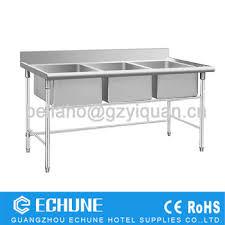 Restaurant Three Kitchen Sinks Stainless Steel Dish Washing Work - Restaurant kitchen sinks