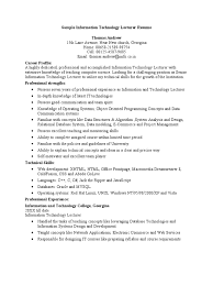 Sample Resume For Experienced Assistant Professor In Engineering College by Sample Information Technology Lecturer Resume Microsoft Access