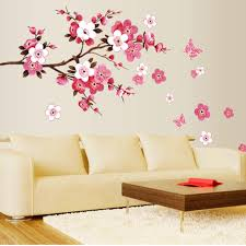 butterfly wall stickers roselawnlutheran peach blossom removable flower wall sticker decal mural art home room decoration