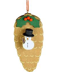 deals on christian ulbricht ornament snowman on pinecone
