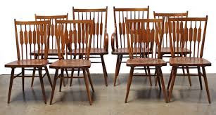 set 8 kipp stewart walnut centennial dining chairs for drexel