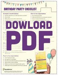 printable party planner checklist birthday party planning checklist