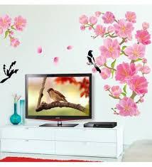 cny home decoration peach blossom magpie flower home decoration removable wall sticker