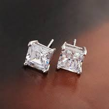 aliexpress buy anniversary 18k white gold filled 4 aliexpress buy square cut clear earrings white gold filled