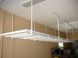 small spaces garage makeover design with white 4x8 overhead