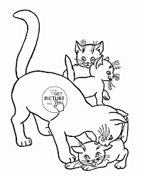 cat and kittens animal coloring page for kids animal coloring