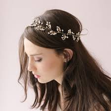 beaded headbands dainty beaded fern leaf hair vine petals blossom leaf wedding