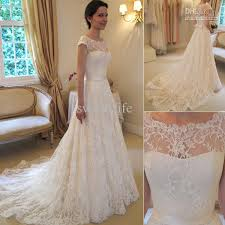 2016 vintage lace a line wedding dresses bateau short sleeve