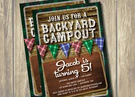 diy printable rustic camping birthday party invitation