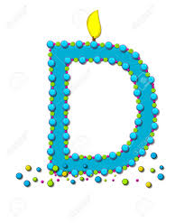 the letter d in the alphabet set birthday cake candle is aqua