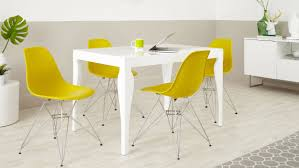 White Gloss Dining Table And Chairs White Gloss Dining Table And Eames Wire Frame Chairs Youtube Arafen