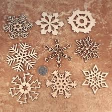 wooden laser cut snowflake ornaments 3 inch diameter