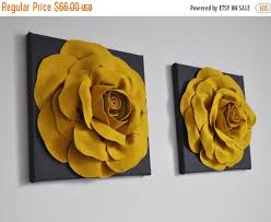 Grey And Yellow Home Decor Sale Rose Art Home Decor Set Dark Grey Yellow Wall By Bedbuggs