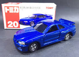 nissan sports car blue japan tomy tomica no 20 nissan skyline gt r r 34 gtr r34 1 61