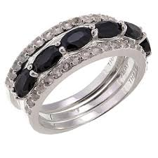 set ring sevilla silver black sapphire topaz 3 ring set 8572711