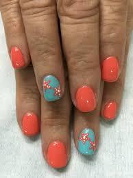 summer vacation beach orange sky blue starfish gel nails gel