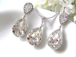 swarovski necklace set images Pear drop swarovski crystals in white gold bridal earrings and jpg
