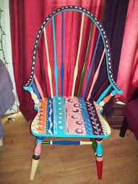 custom dining room antique arm chair handpainted multi colored by