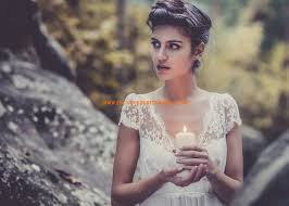 empire mariage robe de mariage empire dentelle mousseline manches courtes