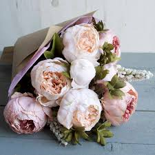 Peony Flowers Blush Peony Hand Tied Faux Flower Bouquet By Hannah Halfpennie