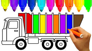 learn colors for kids with construction truck coloring pages