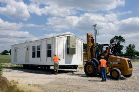 fema mobile homes being placed in a staging area in iowa fema gov